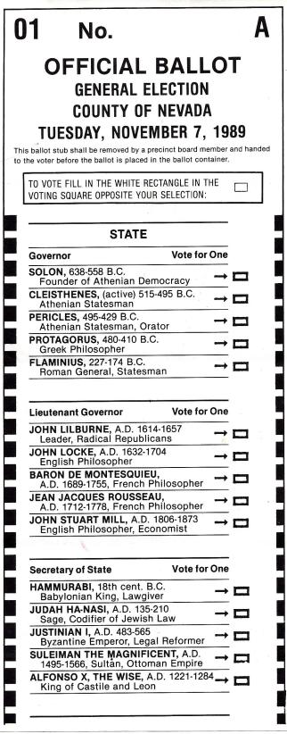 Sample ballot with historic figures