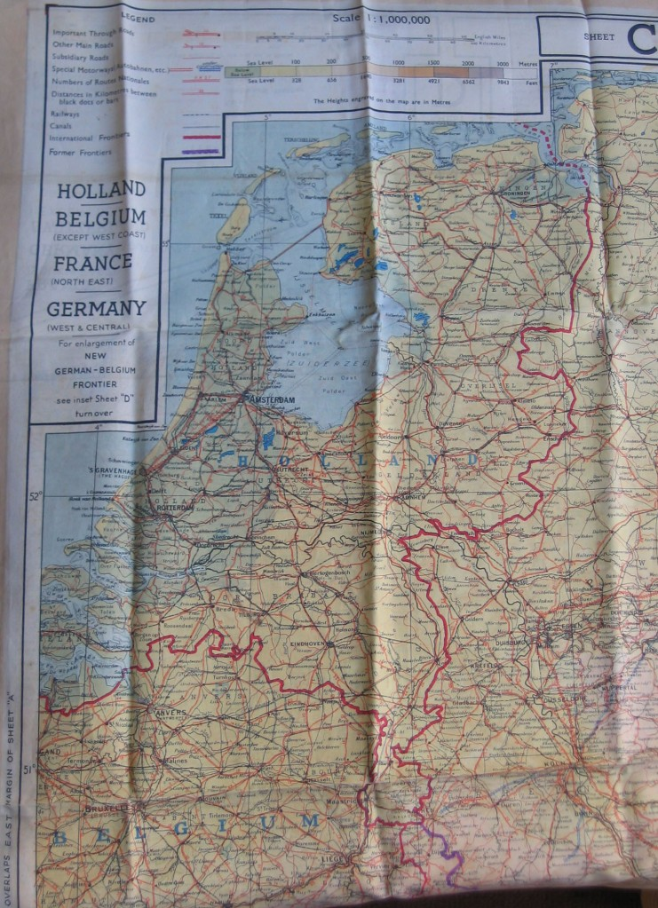 Map Of France Holland And Germany.Silk Escape Map Wwii Netherlands Escape Lines
