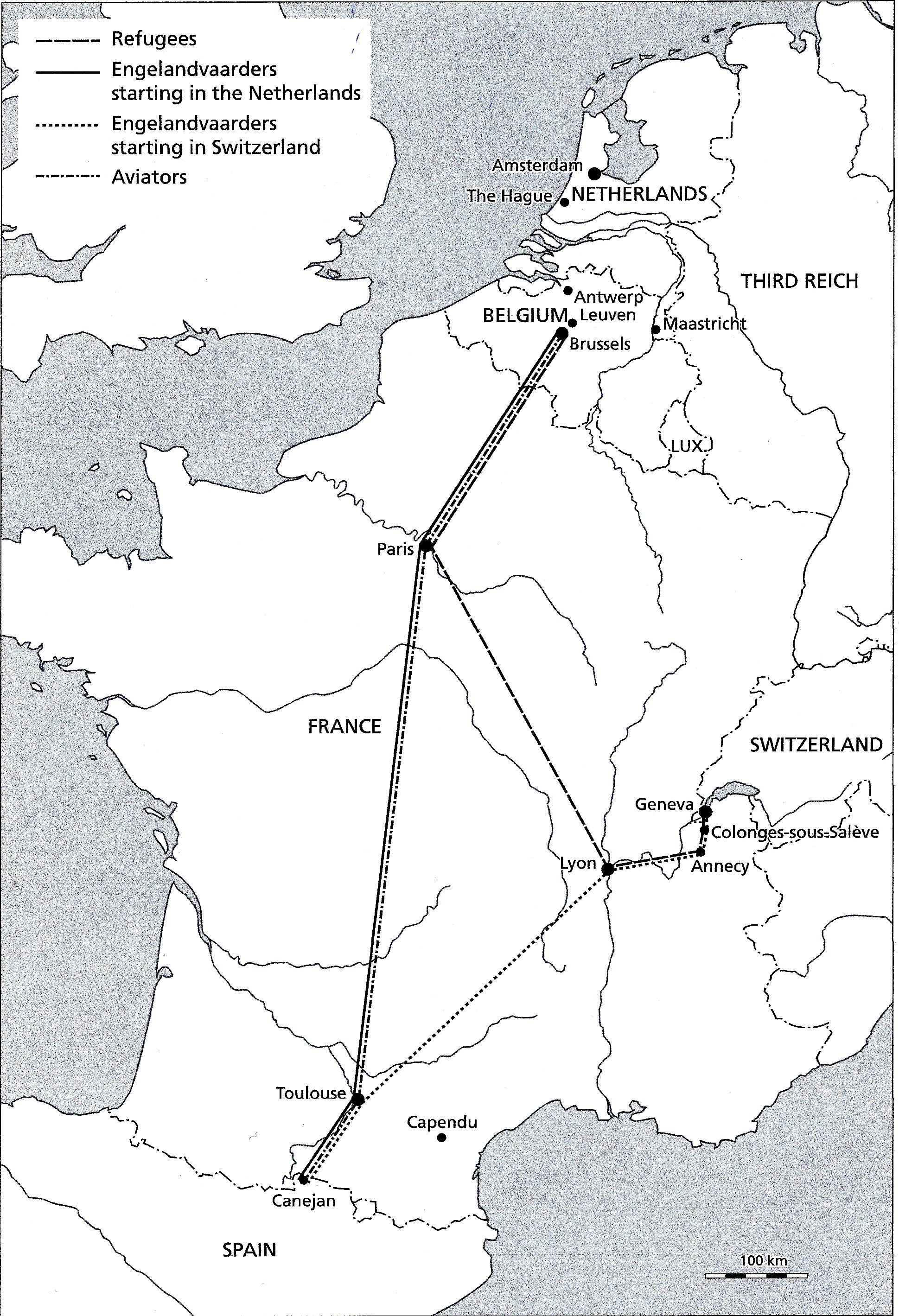 maps of major escape routes through france wwii netherlands