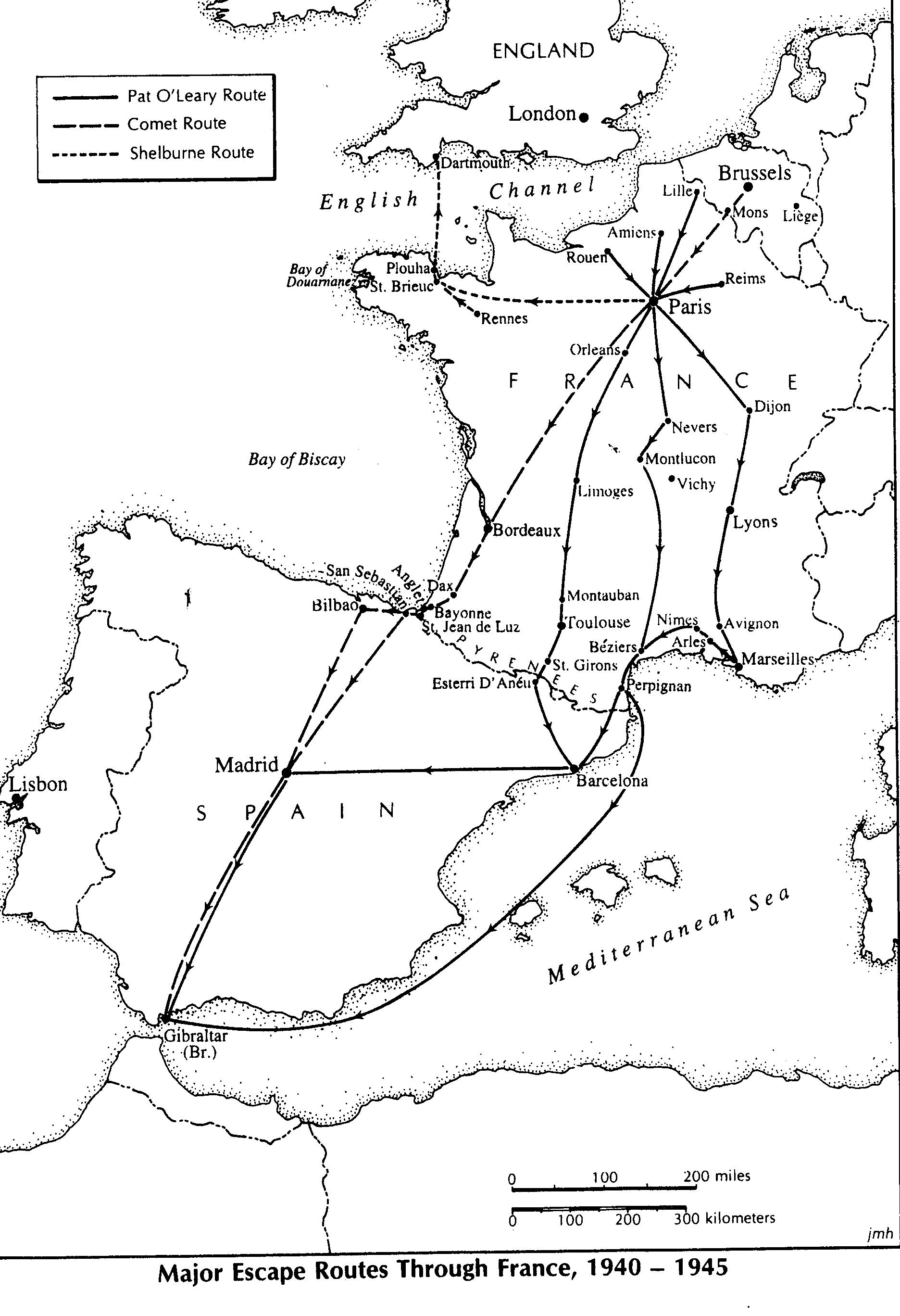 Maps of Major Escape Routes Through France WWII Netherlands Escape