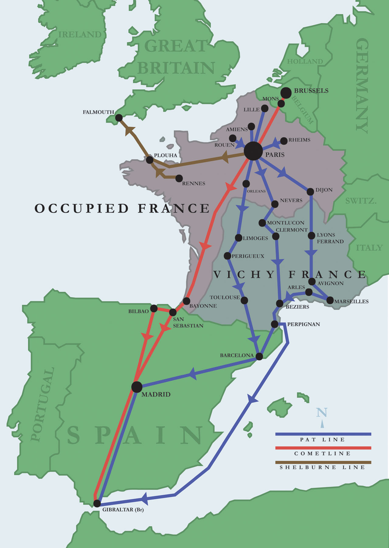 Maps of Major Escape Routes Through France | WWII Netherlands ... Map F on map l, map i, map a, map s, map c, map d, map e, map b,