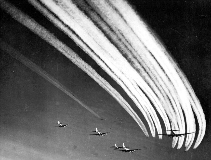Sample Photo: B-17 Vapor Trails   WWII Netherlands Escape Lines