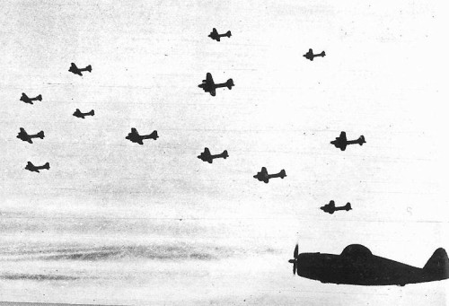 4-USAAF Bombers & escort fighter in flight