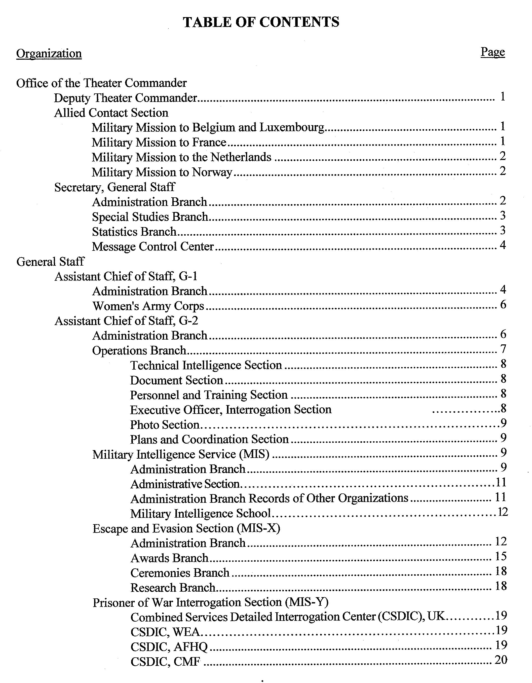Index to escape evasion record locations wwii for Table of contents