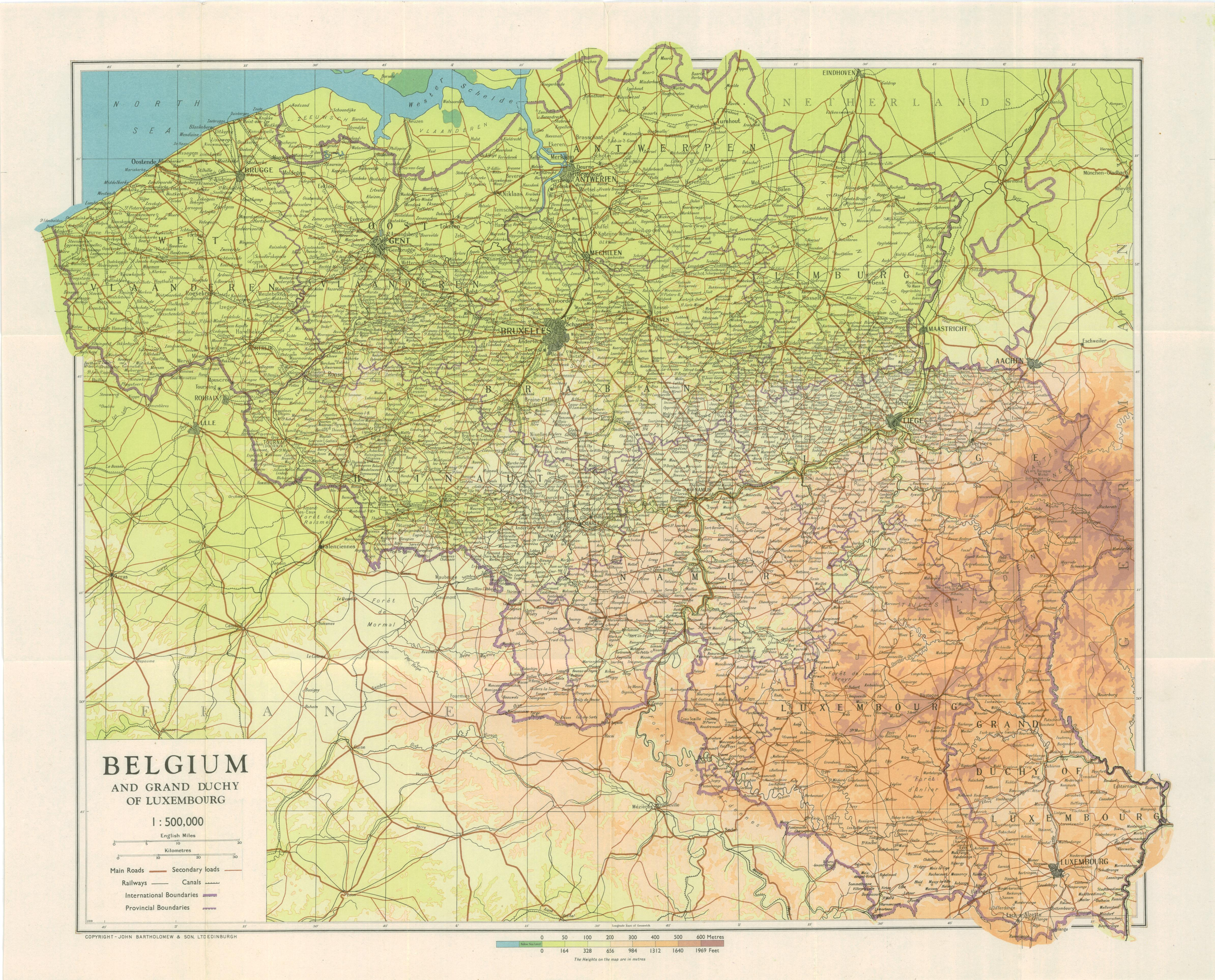 Belgium 1944 Map  WWII Netherlands Escape Lines