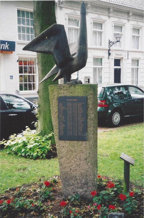 Memorial in Hilvarenbeek town square listing VDH and others
