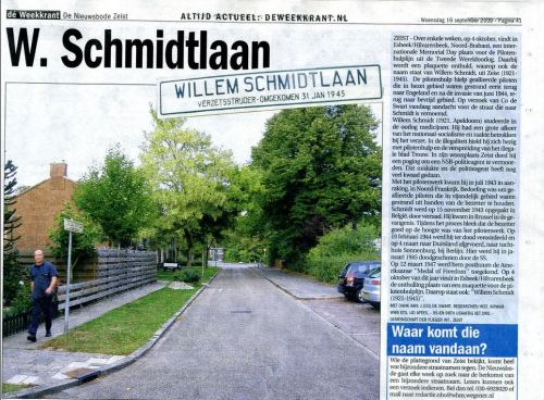 Photo and news story about street named after Willem